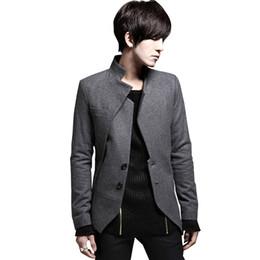 Wholesale Single Collar Mens Suit - Wholesale- 2017 New Arrival Blazer Men Black Gray Slim Fit Casual Asymmetrical Male Suit Coat Mens Blazer Jacket Spring Autumn# A42227