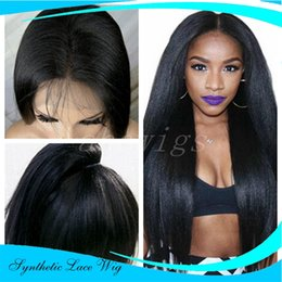 Wholesale Cheap White Long Wig - cheap wig Top Quality Heat Resistant Fiber black Long Natural yaki Straight Black Synthetic hair middle part Lace Front wigs for Black Women