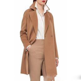 Wholesale Camel Coat Lapel - Camel in stock UK 2017 Fall Winter Women Notched lapel Single Button Simple Long Coat ZA style Career Overcoat manteau femme casaco feminino