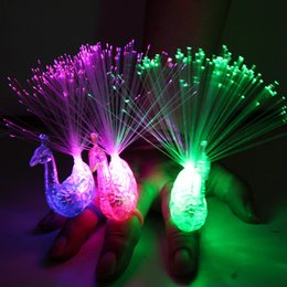 Wholesale Party Supplies Children - Creative Peacock LED Finger Ring Lights Beams Party Nightclub Colour Rings Children Gifts Event & Party Supplies