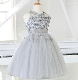 Wholesale Christmas Clothes For Kids - 2015 Silver tulle Princess Girl Party Dresses Bead Appliques Tutu Wedding Dress for Christmas Kids Birthday clothes 12M-12Y