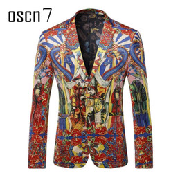 Wholesale Chinese Red Jackets - Wholesale- OSCN7 Chinese Style Printed Mens Red Blazer 2017 Latest Slim Fit Leisure Blazer Masculino Plus Size Fashion Suit Jacket M-3XL
