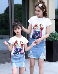 Wholesale Wholesale Denim Floral Shirt - Mother and dauther outfits girls womens floral embroidery cartoon T-shirt+hole denim skirt 2pc clothing sets summer family clothes T3945
