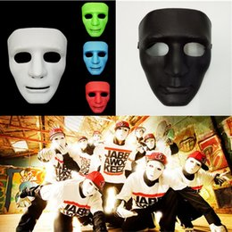 Wholesale Street Dance Costumes - Hot 5 Colors Hip Hop Street Dance Mask Adult Men's Full Face Party Mask Costume Masquerade Ball Plastic Plain Thick Masks IB378