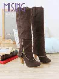Wholesale Grey Long Boots For Women - Wholesale- Hot sale Fashion women boots Round Toe Knee-High long boots for women Metal decration Nubuck Leather Knight boots big size 34-43