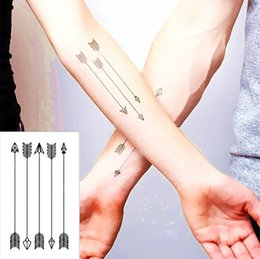 Wholesale art wall tatoo - Wholesale- Small Bow Arrows Temporary Tattoo Body Art Flash Tattoo Sticker 10.5*6cm Waterproof Henna Tatoo Selfie Wall Sticker