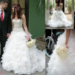 Wholesale shine wedding gown - 2017 White Ivory Organza A Line Wedding Dresses with Shining Beaded Bodice Custom Made Sleeveless Court Train Bridal Gowns Tiered Skirt