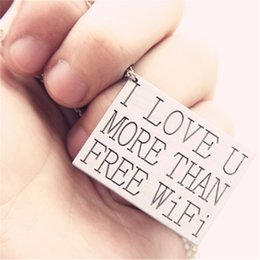 Wholesale Wifi World - Wholesale-Sunshine Most Romantic World In Harry Said I lOVE U MORE THAN FREE WIFI Pendant Necklace fashion jewelry for lovers gift