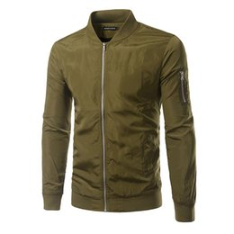 Wholesale Dark Blue Bomber Jacket - Wholesale- 2016 new Autumn Mens Solid Flight Army Green & Dark Blue Bomber Jacket Men's Rib Sleeve Zipper Air Force Baseball Coats Clothing