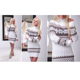 Wholesale Highest Dress Fashion - Wholesale-2016 new Women Sweater Autumn High Quarlity Long Length Fashion Turtleneck Pullovers Full Sleeve Casual Knitted Sweater Dress