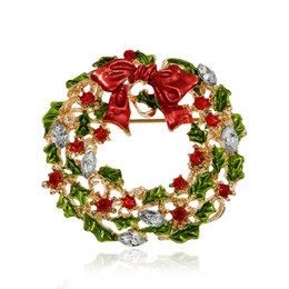Wholesale Bows For Wreaths - Wholesale- New Arrival Christmas Rhinestone Brooches For Women Cute Style Multicolor Bow-knot Wreath Brooch Pins For Girls Fashion Jewelry