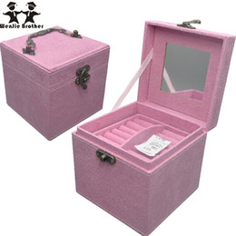 Wholesale Tier Boxes - Wholesale- wenjie brother Professional quality 3 layer PU mini Makeup Case Beauty Case Cosmetic Bag cosmetic case Multi Tiers Jewelry Box