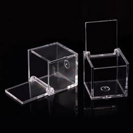 200 pcs Grau Alimentício Claro Caixa De Plástico Quadrado Caixa De Doces Flip Presente Da Embalagem Do Presente Da Lembrança Favor Do Casamento Transparente de