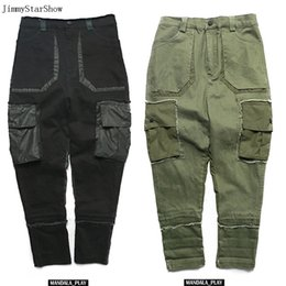 Wholesale Flashing Pants - 2017 New Spring Autumn Brand Flash Tattered Stretch Slim Sagging Pants Crotch Pants Men's Low Cross Haren Pants Beam Trousers 725
