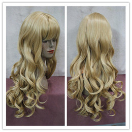 Wholesale Blonde Wig Skin - free shipping beautiful charming hot NEW new charming golden blonde curly skin top long bangs wig