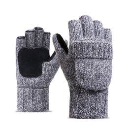 Wholesale Men Color Winter Type - Mens Womens Knitted Wool Convertible Fingerless Gloves Fleece Lined Warm Winter Mittens Perfect Gift for Texting Typing Writing Solid Color