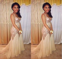 Wholesale New Fitted Evening Dress - 2017 Champagne New Designer Fiesta Beaded Crystals Prom Dresses Sparkly Backless Tulle Fitted Evening Gowns for Pageant BA4702