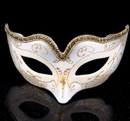 Wholesale Red Mask For Prom - Masquerade Ball Dance Mask Fashion women Costume Fancy Dress Prom Eye Mask Mardi Party wedding masks Gold Glitter Edge Gift
