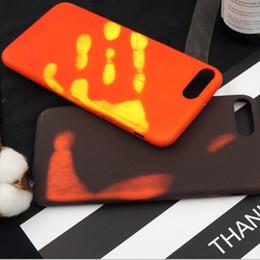 Wholesale Backing Sensors - Thermosensitive Color Change Case Magical TPU Cases Fingerprint Back Cover Temperature Sensing Thermal Sensor Heat Shell Skin For Iphone 7