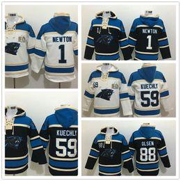 Wholesale Newton White - Stitched Panthres Hoody 1 NEWTON  59 KUECHLY  88 OLSEN White Black Hockey Men Ice Jerseys Hoodie Jersey Mix Order