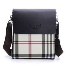 Wholesale Leather Messenger Casual Bag For Men - Wholesale- 2016 Fashion Men's Messenger Bag PU leather Crossbody Shoulder Bags for Men Stripe Checkered Color Brand Handbag Man XB138-TC