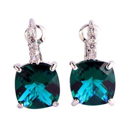 Wholesale gem cross - Lingmei Factory direct sale Green CZ Silver Plated Stud Earrings Fashion Gems plated Jewelry Women Wholesale
