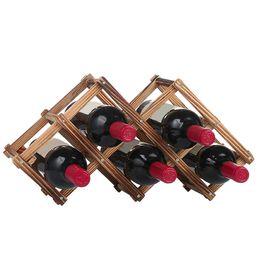 Wholesale Wine Rack Wood - Newly Wine Rack 6 10 Wood Bottle Holder Folding Stand Display Shelf Home Ornaments Fashion Mug Tea Glass Draining Holder JE0280
