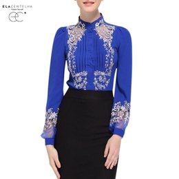 Wholesale Silk Embroidery Blouse - ElaCentelha Women Shirt Elegant Hollow Princess Long Sleeve Brand Silk Blouse Shirts Embroidery Shirts Tops Female Blusas