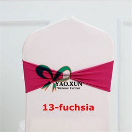 Wholesale Diamond Buckle Chair Sashes - New Style Fuchsia Color Poly Lycra Chair Band \ Spandex Chair Sash And Diamond Buckle