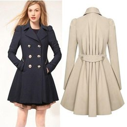 Wholesale Xxl Ladies Long Winter Coats - Fashion Jackets Ladies Lapel Winter Warm Long Parka Trench Outwear Size S-XXL Trench Coats Outerwear Women Clothing double-breasted 3 Colors