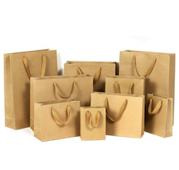 Wholesale Kraft Stocks - 10 sizes stock and customized paper gift bag brown kraft paper bag with handles wholesale can do logo