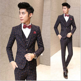 Wholesale Korea Skinny Pants - Wholesale- New Fashion Hot Sale Brand 2016 men's fashion casual high quality big plaid suit male slim korea style blazer vest and pants