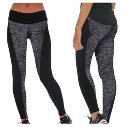Wholesale Cotton Leggings Xxl - Sports Yoga Wear AB Double-sided Black and Gray Stitching Lift Hip Running Workout Leggings Elastic Plus Size Yoga Pant