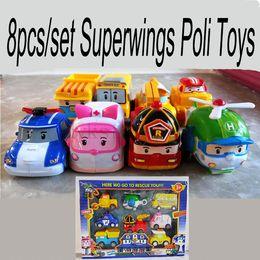 Wholesale Robocar Poli Toys - 8pcs set Superwings Poli Toys Korea Robocar Poli - Poli  Amber Roy Helly Spring Team Car Plastic Children Gift Safe Toy Doll