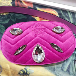 Wholesale Fanny Top - 2018 velvet bag Set auger Fanny pack Famous Brands Women Handbags top Quality Leather Geometric Pattern Chain Shoulder Bags Flap 443497