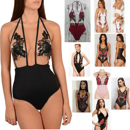 Wholesale Swimsuit Embroidery - 2017 New Arrive Floral Embroidery Woman One Pieces Swimsuit Beach Suit Sexy Hollow Out Backless Bikini Set Lady Monokini Swimwear