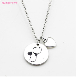 Wholesale Wholesale Nurse Gifts - NEW arrival fashion jewelry nurse stethoscope pendant necklace antique silver heart charm necklace love necklace