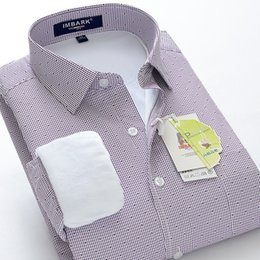 Wholesale Large Mens Dress Shirts - Wholesale- business dress winter thick warm Mens Striped obese super large plus velvet high quality long-sleeve shirt plus size M -10XL
