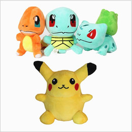 Wholesale Charmander Figure - Poke Plush Toys Pikachu Stuffed Dolls Squirtle Charmander Bulbasaur Toy Animals Cartoon Doll Soft Action Figure Dolls Christmas Toys B2255