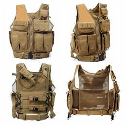 Wholesale Combat Body Armor - Tactical Molle System Multifuctional Vest Army Airsoft camouflage Vest with Pistol Holster and Belt Body Armor Swat Combat Vest