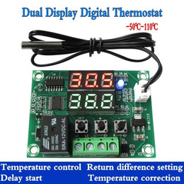 Wholesale High Temperature Digital Thermostats - Wholesale- DC12V Dual display Digital Thermostat High Precision Temperature Control Switch Relay Output 10A