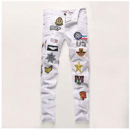 Wholesale Wash Design Denim Pant - Wholesale-Creative Fashion Patchwork Badge Jeans Men's Denim Hole Jeans Pants 2016 White Washed Vintage Brand Slim Jeans Design Long Pants