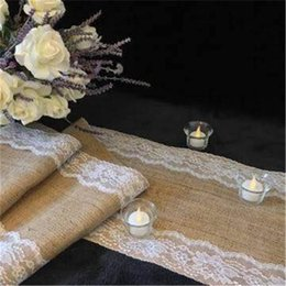 Wholesale Ivory Wedding Runner - Wholesale- 275*35cm Burlap Ivory Lace Hessian Table Runner Jute Country Wedding Party Decoration * 5 pieces AA8029