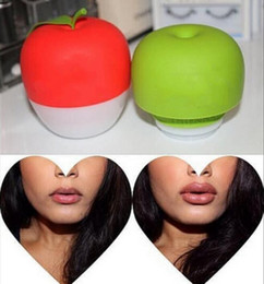 Wholesale Lips Pump Plumper - Apple Pump Up Your Pout 2 Styles Lip Plump Enhancer Suction Red Beauty Lip Green Double or Red Single Lobed Lip Plumper Tool
