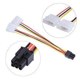 Wholesale Molex Female Connector - Car 2 IDE Dual 4Ppin Molex IDE Male To 6 Pin Female PCI-E Y Molex IDE Power Cable Adapter Connector for Video Cards
