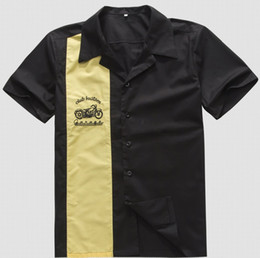 Wholesale Cowboys Online - Wholesale- Men's Work Shirts Online Vintage Rock 40's Western Style Yellow Cowboy Short Sleeves Hip Hop Party Club Shirt with Embroidery
