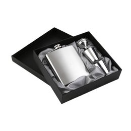 Wholesale Hip Flask Silver - 7 oz Stainless Steel Hip Flask Sets jack Flagon With Funnel Cups wine Whisky Hip Flask Portable Flagon bottle Gift Box Packing