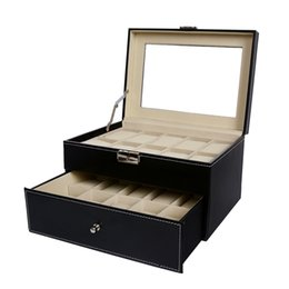 Wholesale Large Jewelry Storage - Large 20 Slot Jewelry Organizer Wooden Watches Boxes Display Storage Box Case Leather Square Jewelry