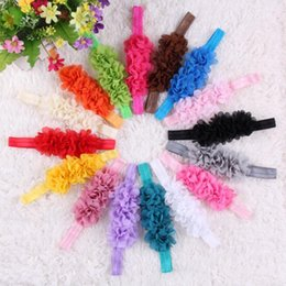 Wholesale Tires For Hair - 16 Candy Colors Children's fashion chiffon tire Baby Girl's Newest Hair Accessories New Born kids headbands hair sticks for baby girls CK457