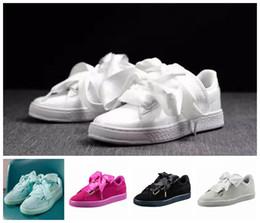 Wholesale Good Basket - 2017 good shoes bowknot Suede Basket Heart satin fenty rihanna Creeper Skate shoes running shoes.kids SIZE 36-40